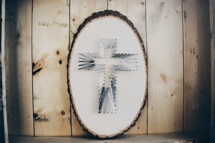 DIY String Art Home Decor Cross